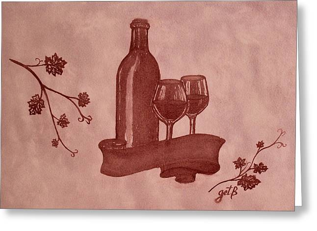 Glass Of Wine Paintings Greeting Cards - Enjoying Red Wine  painting with red wine Greeting Card by Georgeta  Blanaru