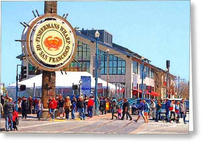 Fishermens Wharf Greeting Cards - Enjoying The Day At Fishermans Wharf San Francisco California . 7D14220 Greeting Card by Wingsdomain Art and Photography
