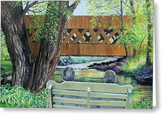 Covered Bridge Greeting Cards - Enjoying the View Greeting Card by Susan DeLain