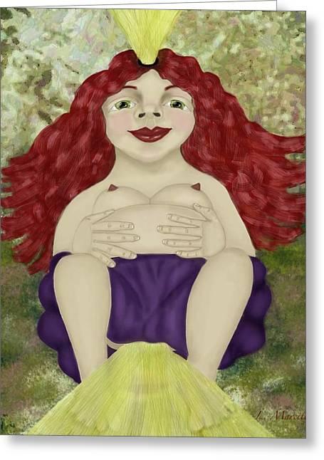 Goddess Birth Art Greeting Cards - Enlightened Birth Greeting Card by Linda Marcille