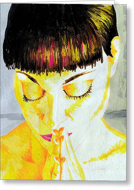 Enlightened Woman Greeting Card by Jose Miguel Barrionuevo
