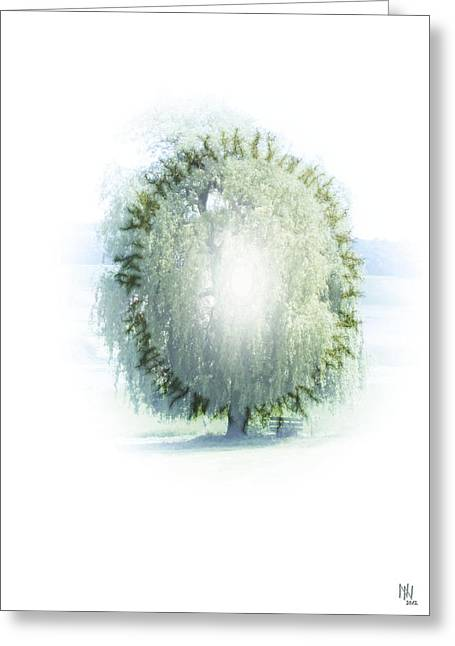 World In Between Greeting Cards - Enlightment Of The Willow Greeting Card by Nafets Nuarb