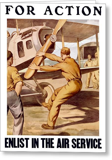 Plane Art Greeting Cards - Enlist In The Air Service Greeting Card by War Is Hell Store