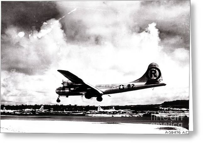 Atom Bomb Greeting Cards - Enola Gay Landing After Hiroshima Greeting Card by Photo Researchers