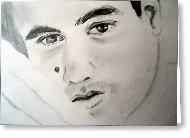Take Over Drawings Greeting Cards - Enrique Igesias Greeting Card by Allison Jones