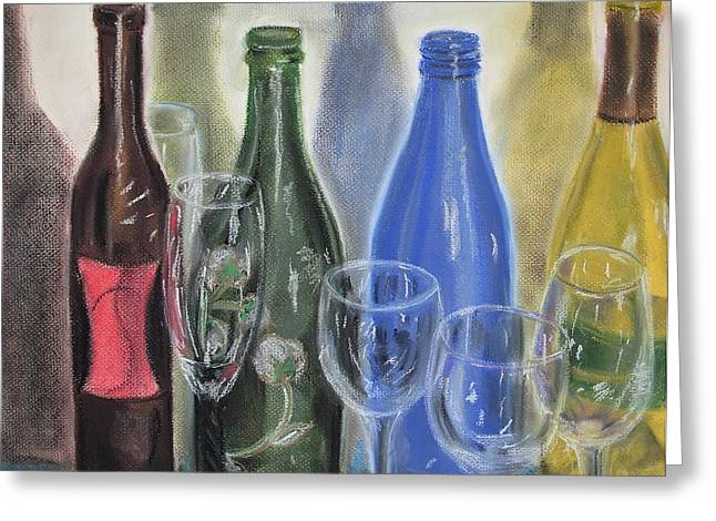 Wine Reflection Art Pastels Greeting Cards - Ensemble Greeting Card by Gitta Brewster