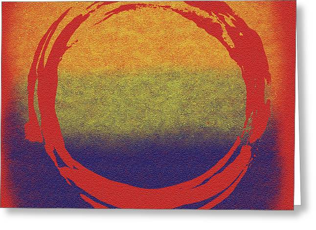 Stretched Greeting Cards - Enso 7 Greeting Card by Julie Niemela