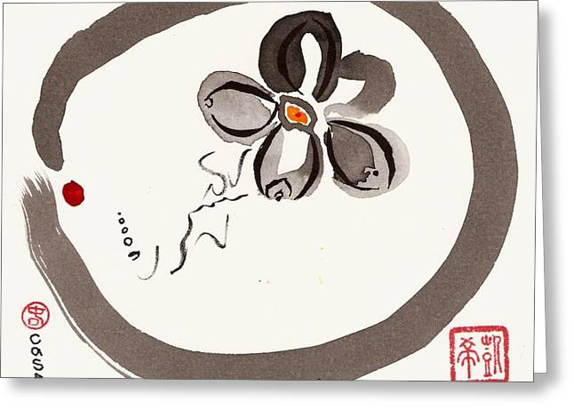Enso Greeting Cards - Enso Aven Greeting Card by Casey Shannon