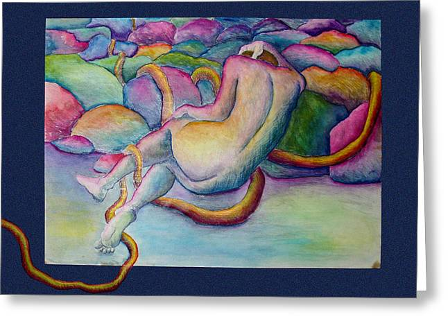 Figure Drawing Greeting Cards - Entangled Figure with Rocks Greeting Card by Nancy Mueller