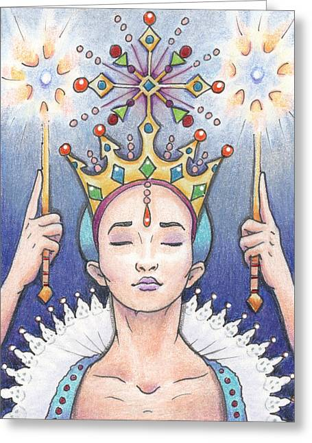 Scepter Greeting Cards - Enter The Frost Queen Greeting Card by Amy S Turner