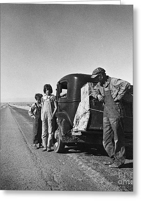 The Great Depression Greeting Cards - Entering The California Desert Greeting Card by Photo Researchers