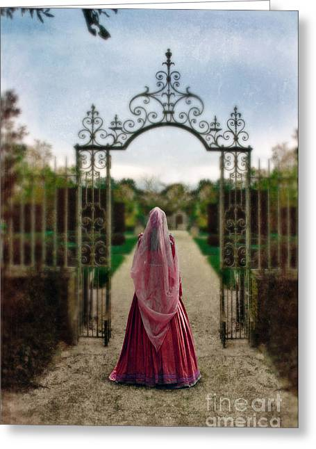 Renaissance Clothing Greeting Cards - Entering the Garden Greeting Card by Jill Battaglia