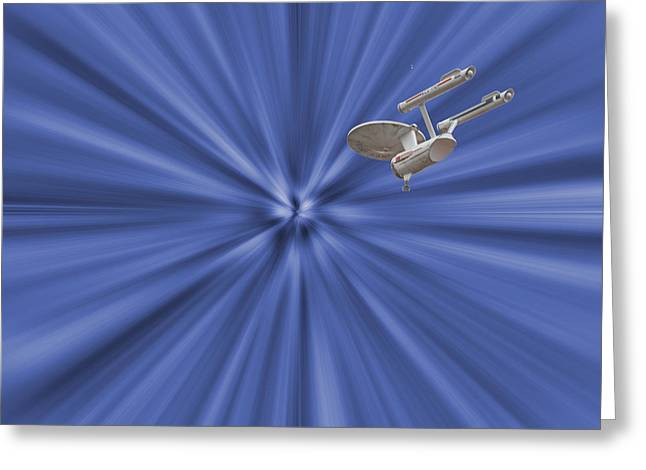 Entering Warp Speed Greeting Card by Peggie Strachan
