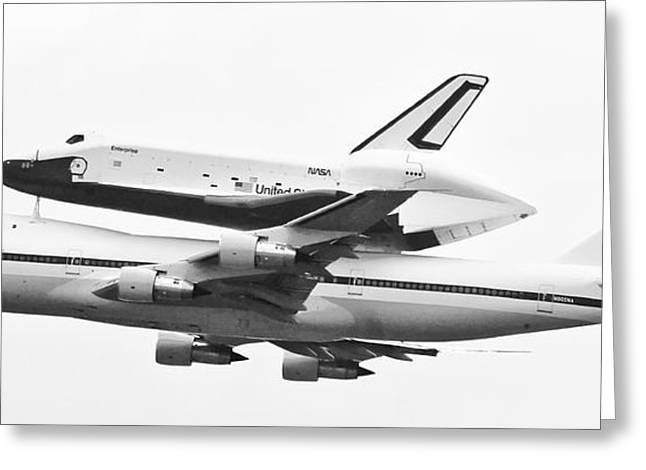 Enterprise Shuttle NYC -Black and White  Greeting Card by Regina Geoghan
