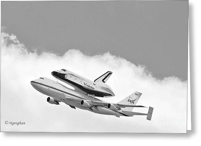 Enterprise Shuttle Over NY Greeting Card by Regina Geoghan