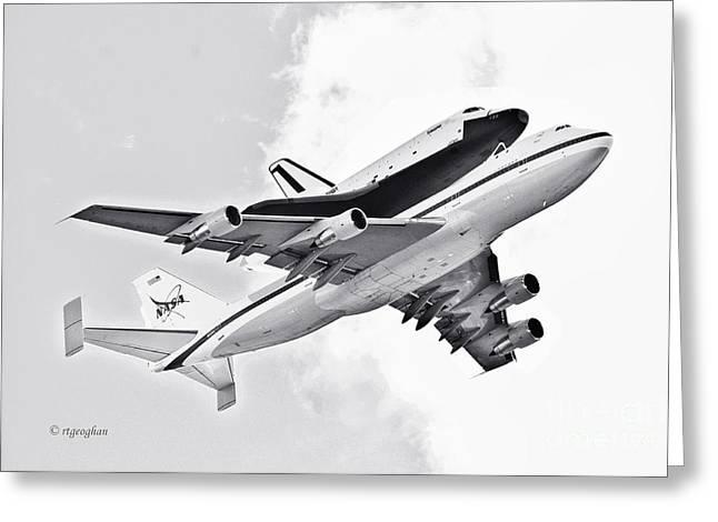 Enterprise Shuttle Piggyback Ride Greeting Card by Regina Geoghan