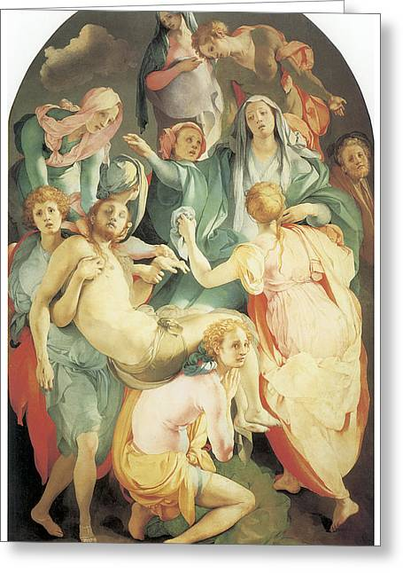 Entombment Greeting Card by Jacopo Da Pontormo