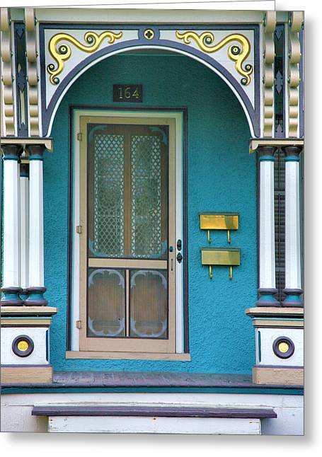 Frame House Greeting Cards - Entrance to Blue-Green House Greeting Card by Steven Ainsworth