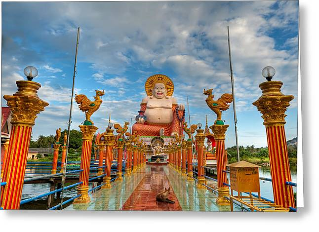 Historic Statue Digital Art Greeting Cards - Entrance To Buddha Greeting Card by Adrian Evans