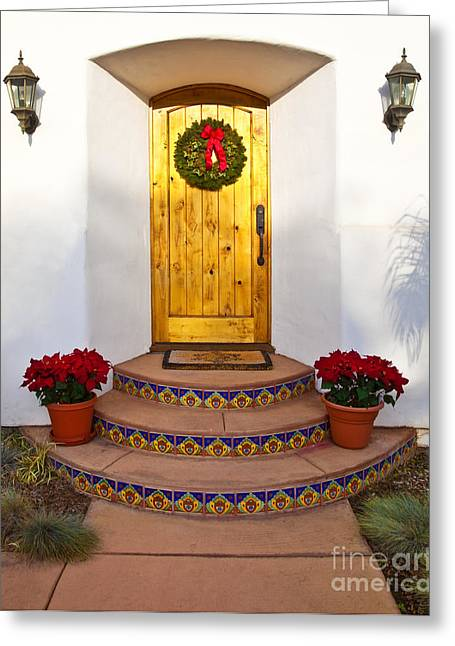 Front Steps Greeting Cards - Entrance to Home with Holiday Decorations Greeting Card by David Buffington