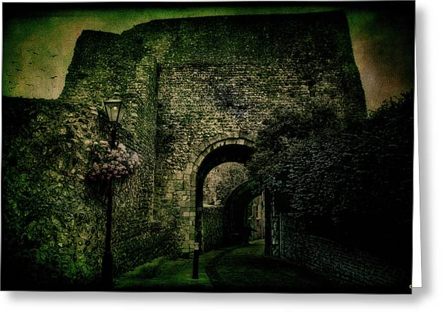 Vintage Gatehouse Greeting Cards - Entrance To Lewes Castle Greeting Card by Chris Lord