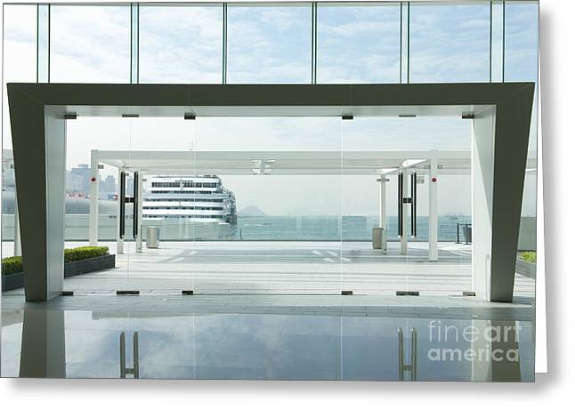 China Beach Greeting Cards - Entrance to Modern Glass Building Greeting Card by Dave & Les Jacobs