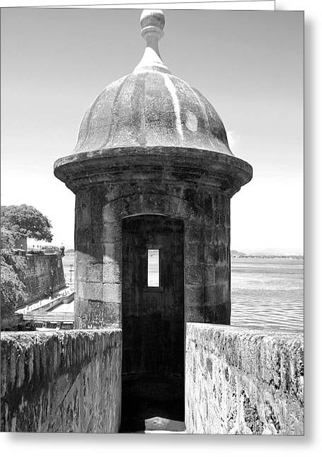 Caribbean Greeting Cards - Entrance to Sentry Tower Castillo San Felipe Del Morro Fortress San Juan Puerto Rico Black and White Greeting Card by Shawn O