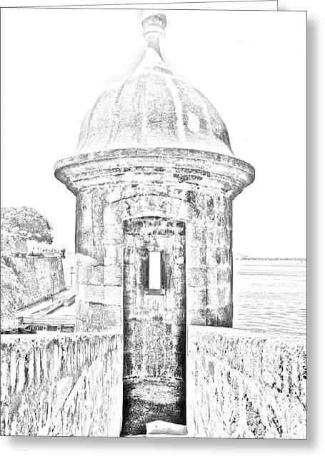 Entrance To Sentry Tower Castillo San Felipe Del Morro Fortress San Juan Puerto Rico Bw Line Art Greeting Card by Shawn O'Brien