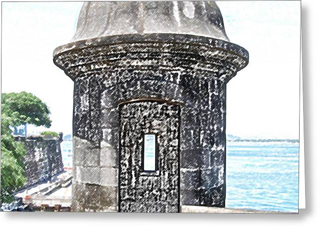 Entrance to Sentry Tower Castillo San Felipe Del Morro Fortress San Juan Puerto Rico Colored Pencil Greeting Card by Shawn O'Brien