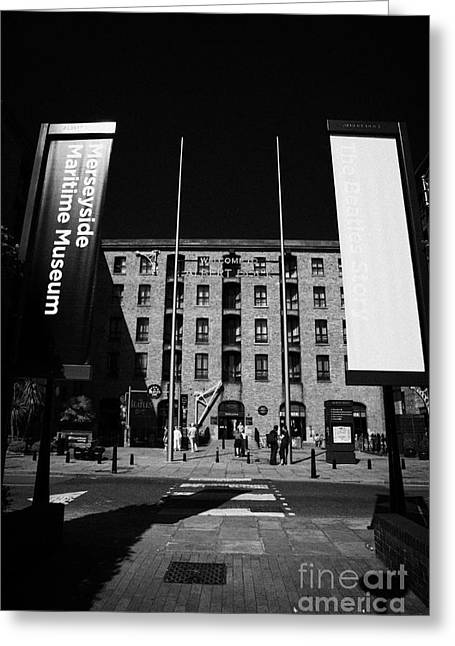 Entrance To The Albert Dock And Beatles Museum Liverpool Merseyside England Uk Greeting Card by Joe Fox