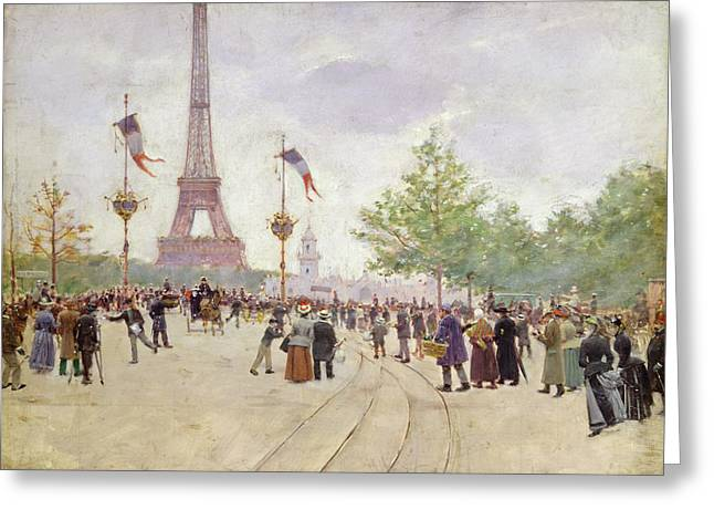 Tricolored Greeting Cards - Entrance to the Exposition Universelle Greeting Card by Jean Beraud