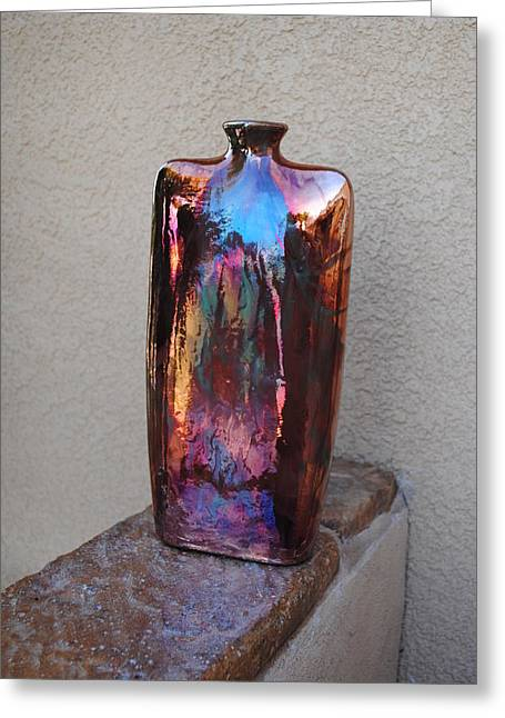Raku Ceramics Greeting Cards - Envelope Vase Greeting Card by John Johnson