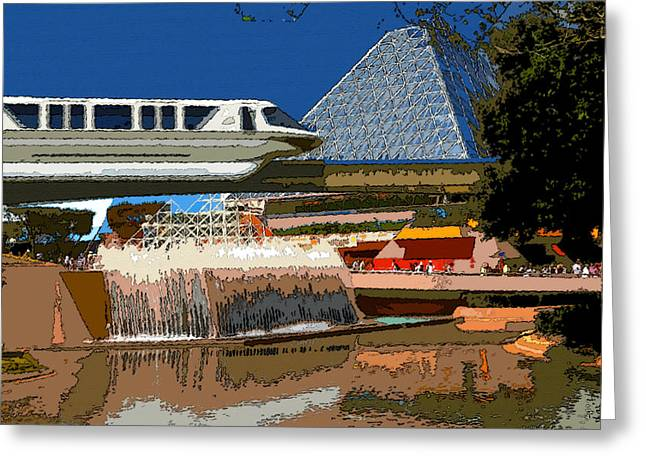 Future World Greeting Cards - Epcot Scenic Greeting Card by David Lee Thompson