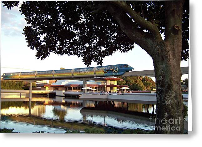 Epcot TRON Monorail Greeting Card by Carol  Bradley