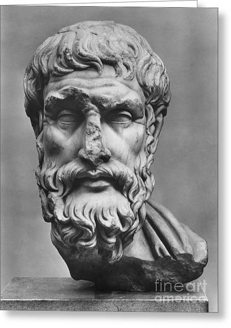 Best Sellers -  - Statue Portrait Greeting Cards - Epicurus (342?-270 B.c.) Greeting Card by Granger