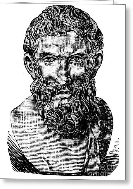 Statue Portrait Photographs Greeting Cards - Epicurus (343?-270 B.c.) Greeting Card by Granger