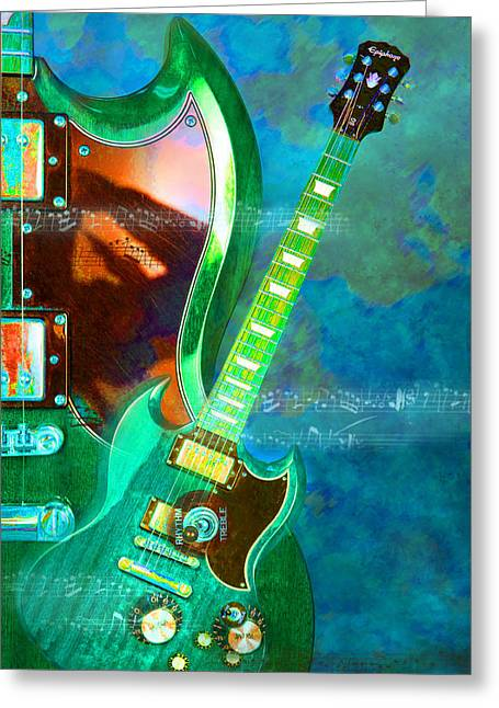 Epiphone Guitars Greeting Cards - Epiphany Greeting Card by Leilani Smith