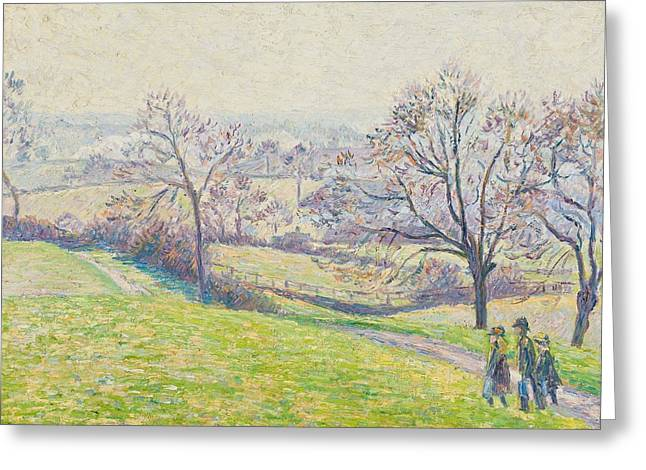 Fall Grass Greeting Cards - Epping landscape Greeting Card by Camille Pissarro