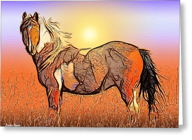 Hay Mixed Media Greeting Cards - Equestrian Sunset Greeting Card by Stephen Younts