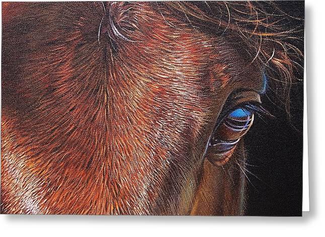Close Up Paintings Greeting Cards - Equine 2 Greeting Card by Elena Kolotusha