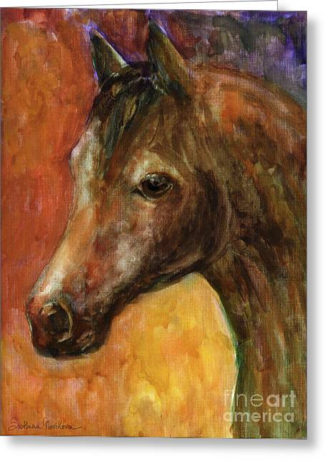 Contemporary Horse Greeting Cards - Equine Horse painting  Greeting Card by Svetlana Novikova