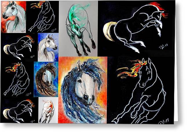 Horse Images Mixed Media Greeting Cards - Equine Spirit - collage 1 Greeting Card by Tarja Stegars