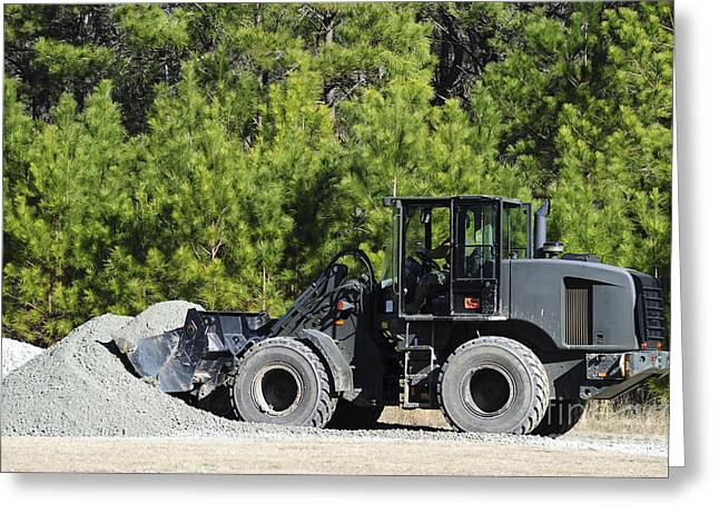 Dirt Pile Greeting Cards - Equipment Operator Gathers A Load Greeting Card by Stocktrek Images