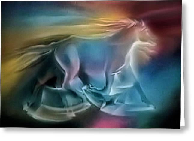 Equus Caballuscomp 1984 Greeting Card by Glenn Bautista