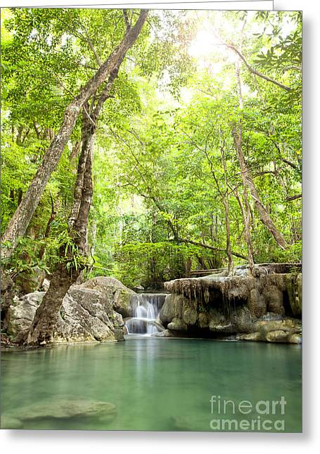Amazing Sunset Digital Greeting Cards - Erawan Waterfall in deep forest Waterfall in Kanchanabur Greeting Card by Anek Suwannaphoom