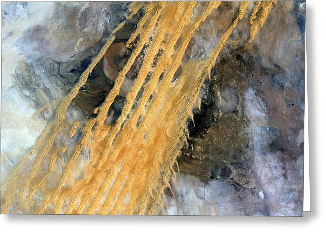 1980s Greeting Cards - Erg Iguidi Desert, Satellite Image Greeting Card by Planetobserver