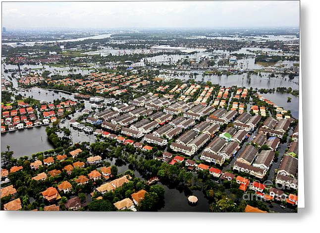 Misfortune Greeting Cards - Erial View Of Flood Waters Affecting An Greeting Card by Stocktrek Images