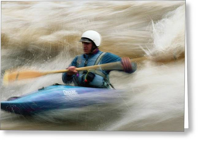 Model Colorado Greeting Cards - Eric Brown Paddling The Whitewater Greeting Card by Bill Hatcher