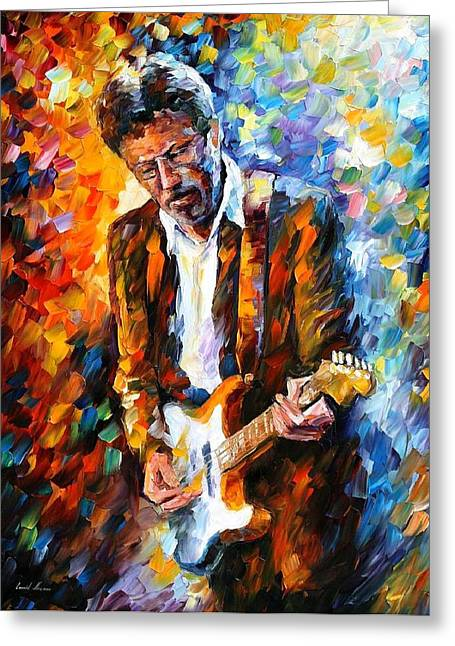 People Paintings Greeting Cards - Eric Clapton Greeting Card by Leonid Afremov