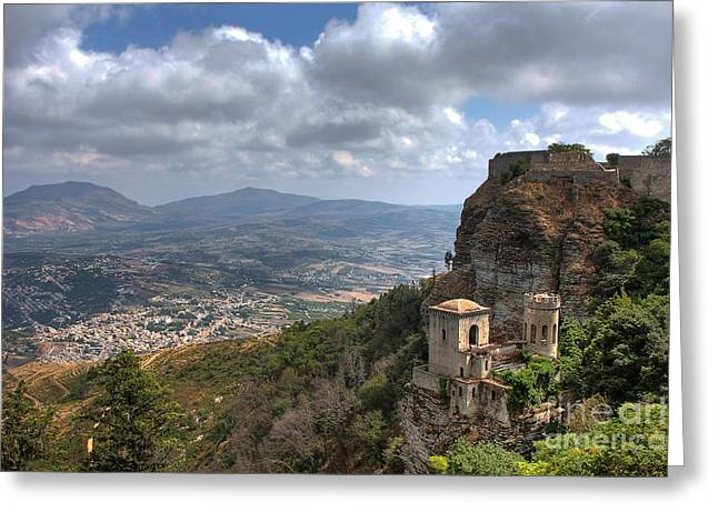 Erice Greeting Cards - Erice Castle Sicily Greeting Card by Anik Messier